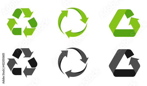 Obraz Set of recycling signs, arrow icons isolated on white. Recycling environmental symbols. Recycling sign. Vector illustration - fototapety do salonu
