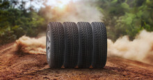 New Offroad Tire Set On The Dusty Country Road