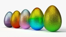Glittering Easter Egg. 3d Illustration, Ilsolated On White. Suitable For Holiday, Easter And Game Themes.