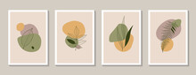 Set Of 4 Scandinavian Boho Style Wall Arts. Modern Abstract Paintings With Leaves In A Natural Color Palette. Plant Designs For Wall Decor, Postcards, Covers. Stock Vector Illustration.