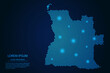 Abstract image Angola map from point blue and glowing stars on a dark background. vector illustration.