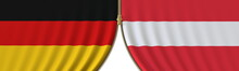 Germany And Austria Cooperation Or Conflict, Flags And Closing Or Opening Zipper Between Them. Conceptual 3D Rendering