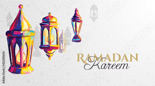 Fototapeta Ramadan Kareem 2021 vector illustration of a lantern Fanus. the Muslim feast of the holy month of Ramadan Kareem. Translation from Arabic: Generous Ramadan obraz