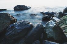 Sea Water Washing The Rocks On The Coast.