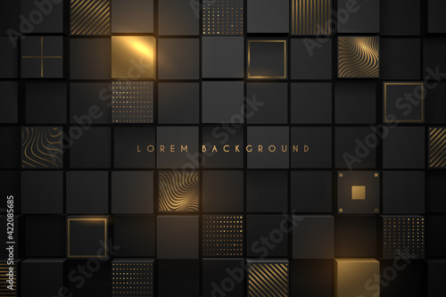 Fototapeta Black and gold square background obraz
