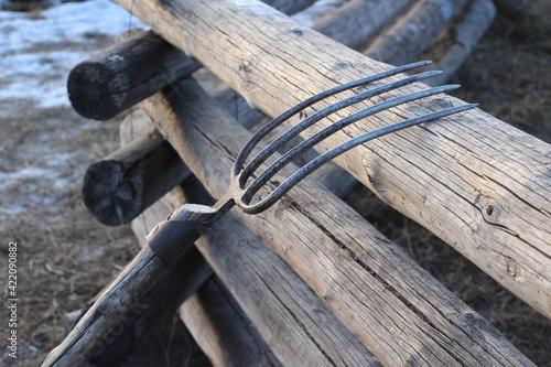 Fotografia, Obraz Hay Pitchfork on Wooden Fence on Farm in Sunset Light