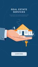 Real Estate Agency Banner. Broker's Hand Giving House Keys For Home Purchase. Deal Sale, Property Purchase, Real Estate Agency Servise Concept Concept For Website Design. Flat Vector Illustration