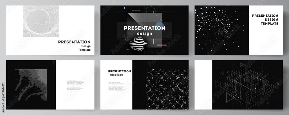 Fototapeta Vector layout of the presentation slides design business templates, template for presentation brochure, brochure cover, report. Abstract technology black color science background. High tech concept.