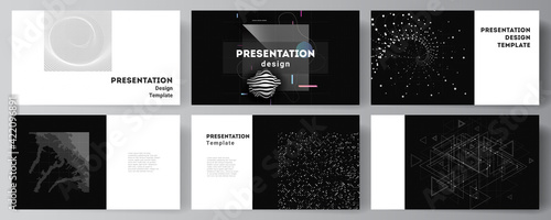 Obraz Vector layout of the presentation slides design business templates, template for presentation brochure, brochure cover, report. Abstract technology black color science background. High tech concept. - fototapety do salonu
