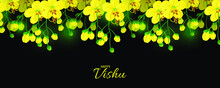Illustration Of Happy Vishu.  Worship Of Krishna. Cassia Fistula Flower.