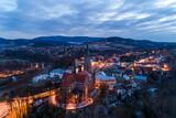Fototapeta Miasto - Grybów, miasto nocą