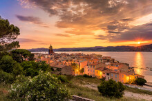 High Angle View Of Saint-tropez Against Golden Sky During Mediterranean Sunset