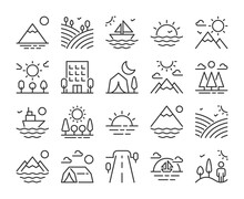 Set Of Landscape Line Icons. Vector Illustration. Editable Stroke, 64x64 Pixel Perfect.