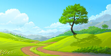 A Path From The Lawn To The Meadows With Beautiful Flowers, Bushes On The Side, A Magnificent Tree, And With Mountains In The Background.