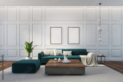 Mockup frames in white living room interior with blue-green furniture and decoration