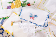 Close Up Of Stitch Cloth Heart Shape, Fruits, On White Fabric, Napkin. Handmade Favorite Hobby Or Handcraft, Baby Patchwork