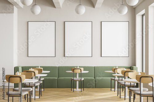 Fotografiet Cafeteria, dining room in university, cafe with tables and chairs, counter bar hotel