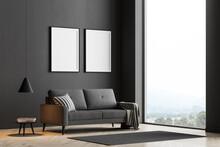 Dark Living Room Interior With Large Panoramic Window
