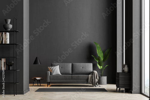 Fototapeta Dark living room interior with black empty wall obraz