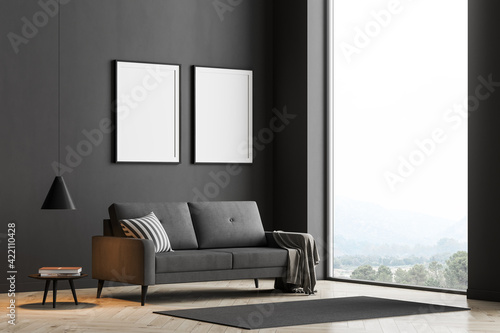 Fototapeta Dark living room interior with large panoramic window obraz