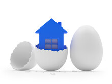 Blue House Icon In A Broken Eggshell And A Whole Egg. 3d Illustration