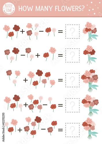 Fototapeta Mothers day matching game with flowers. Holiday math activity for preschool children with rose bouquets. Educational printable counting worksheet with cute funny elements for kids. obraz