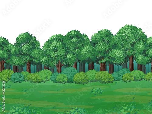 Fotografie, Obraz 森と草原の風景イラスト_背景_シームレス
