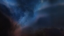 Science Fiction Illustrarion, Colorful Space Background With Stars, Nebula Gas Cloud In Deep Outer Space 3d Render