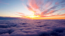 Sunset From A Drone Above The Clouds