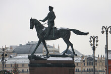 Monument To Marshal Zhukov On Horseback, In The Center Of Moscow Near The Kremlin And Red Square
