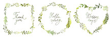 Set Of Green Floral Frames Of Different Shapes With Meadow Herbs And Lettering Inscriptions. Floral Wreaths. Element Design.