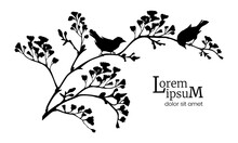 Black Silhouette Of Flowering Branches And Birds. Spring Background.