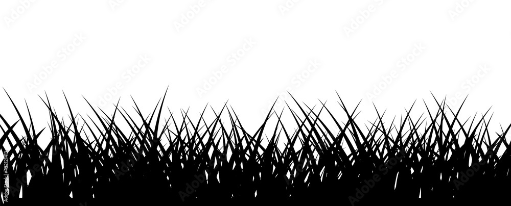 Fototapeta Grass border. Black lawn horizontal illustration. Vector monochrome backdrop