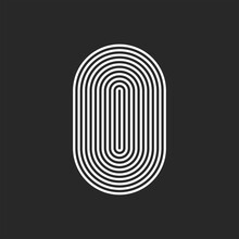 Letter O Or 0 Logo Initial Monogram, Smooth Rounded Offset Thin Lines, Sleek Lines Abstract Track Oval Shape, Typography Hipster Design Element