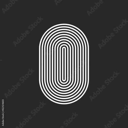 Vászonkép Letter O or 0 logo initial monogram, smooth rounded offset thin lines, sleek lin