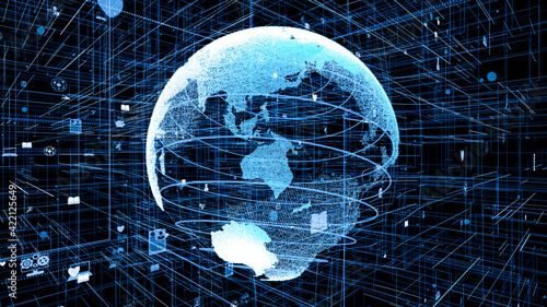 Obraz Global online internet network and internet of things IOT concept presented in 3D rendering computer graphic of cyberspace. Communication and information technology development for digital lifestyle. - fototapety do salonu