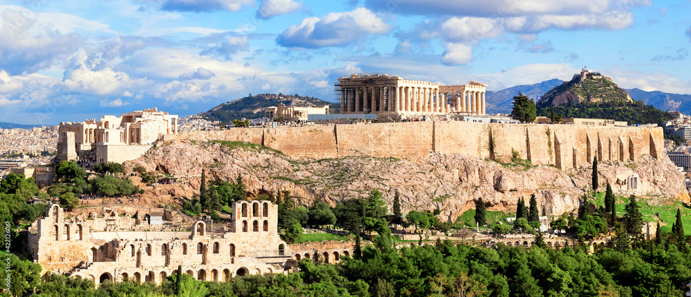 Fototapeta Panorama of Athens with Acropolis hill.
