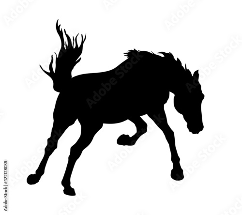 Obraz na plátně black isolated realistic silhouette of a galloping kicking horse on a white back