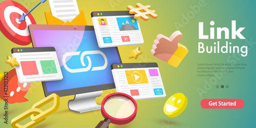 Fototapeta 3D Vector Conceptual Illustration of Link Building, SEO, Backlink Strategy. obraz