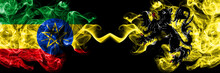 Ethiopia, Ethiopian Vs Flanders, Flemish Smoky Mystic Flags Placed Side By Side. Thick Colored Silky Abstract Smoke Flags.