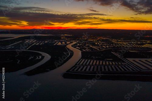 Aerial view of Salinas Corredora in Castro Marim Portugal