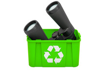 Recycling Trashcan With Binoculars, 3D Rendering