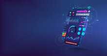 Mobile App With Colored Design. Creation Of A Mobile Application. Mockup UI And Presentation App. 3D Realistic Gadget With User Interface. UI, UX, KIT And Web Concept. Modern Vector Illustration