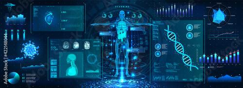 Fototapeta Human body examination in HUD style. Modern healthcare with body scan (Anatomy, Dna formula, Ecg monitor, data organs, X-ray, Statistic and Diagrams) Medical human diagnostic HUD. Vector illustration obraz