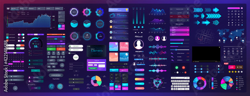 Neon elements for UI, UX, WEB design. Universal interface with Neon colors and elements with high detail. UI / UX / KIT template - buttons, switches, bars, screens display, calendar, search. Vector