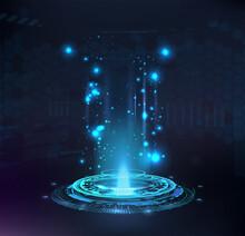 Magic Portal, Hologram, Circle Teleport Or Sci-fi Gadget. High-tech Projector In HUD Style. Futuristic Magic Podium. VR Universal Graphic Element. Presentation Podium, Circle Portal, Teleport. Vector