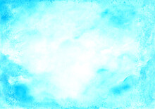 Blue Abstract Watercolor Wet Background