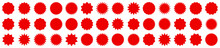 Set Of Red Price Sticker, Sale Or Discount Sticker, Sunburst Badges Icon. Stars Shape With Different Number Of Rays. Special Offer Price Tag. Red Starburst Promotional Badge Set, Shopping Labels.
