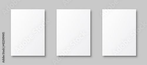 Set white papers template mockup with shadows, white posters with shadow A4 format mockup, blank paper sheets – stock vector