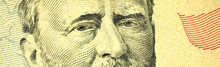 Close Up Photo Of Eye's Of Ulysses S. Grant On Fifty Dollar Bill, Banner Photo